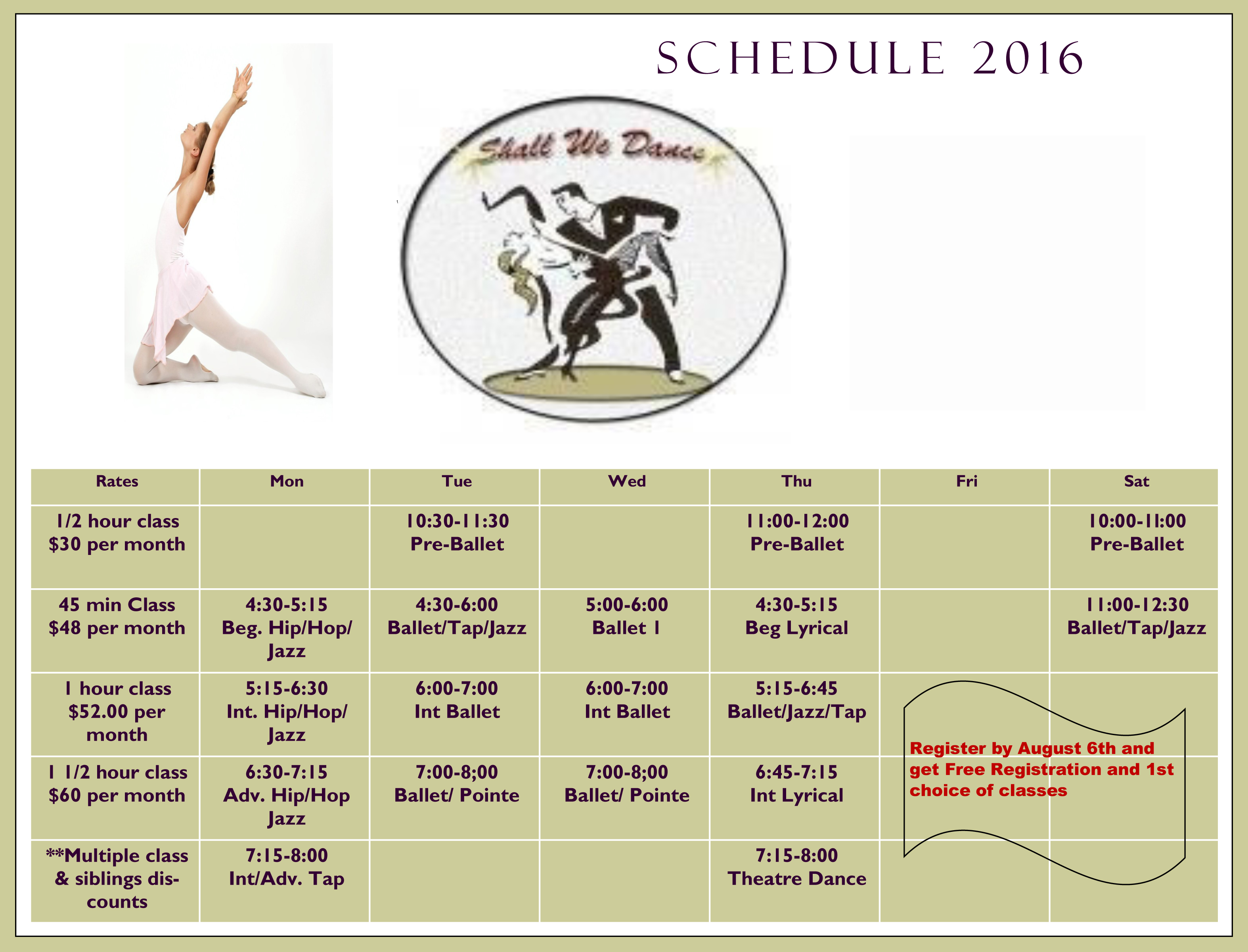 shall we dance schedule